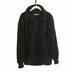 WorkShop brand cozy Black teddy Jacket half zip